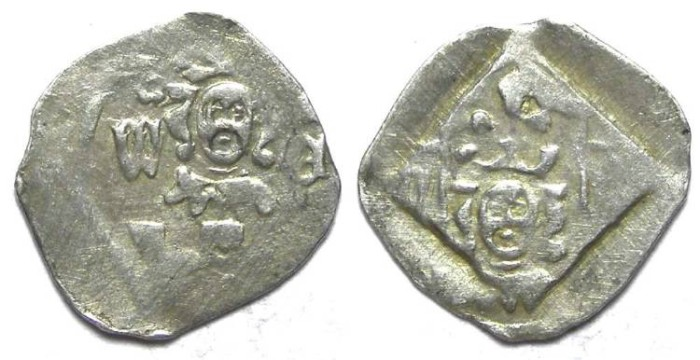 Ancient Coins - Germany, Pfalz-Oberpfalz New Bohemia. Wenzel II, AD 1378 to 1419. Silver pfennig.