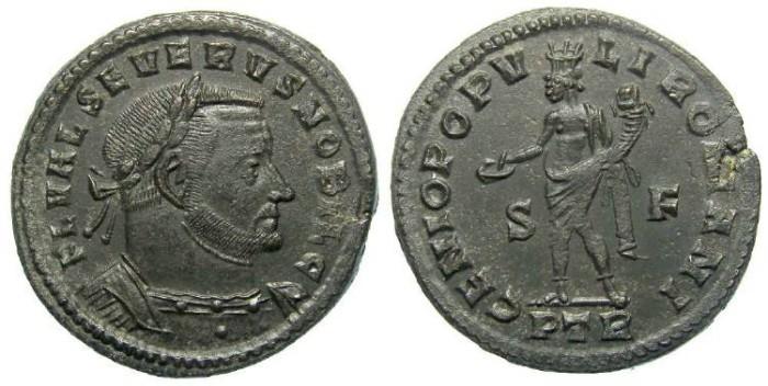 Ancient Coins - Severus II, as Caesar, AD 305-306.  Bronze follis.