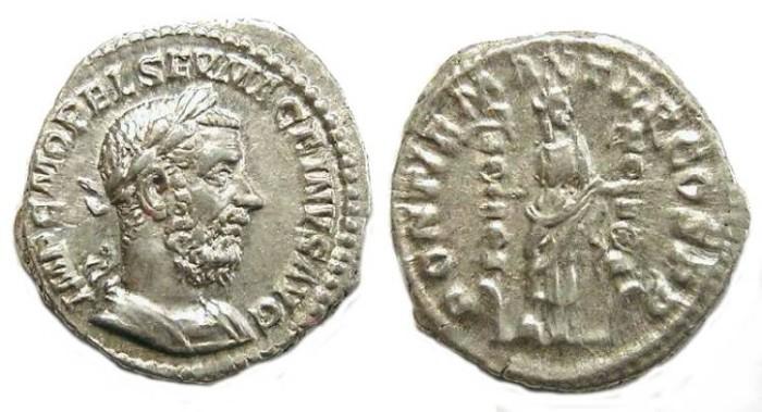 Ancient Coins - Macrinus.  AD 217 to 218.  Silver denarius