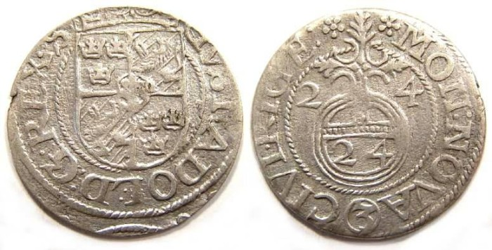 Ancient Coins - Riga under Swedish occupation.  Gustaf II Adolf, 1611 to 1632.  Silver Dreipolker.