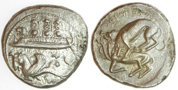 Ancient Coins - Phoenicia, Byblos.  Azbaal, ca. 365 to 350 BC. Silver Dishekel.
