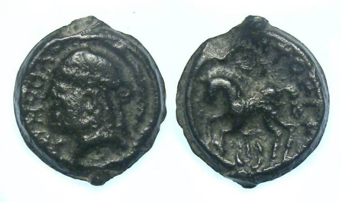 Ancient Coins - Celtic, Gaul. Sequani Tribe. ca. 50 to 30 BC.  Cast Potin.  Rare type and an exceptional specimen.