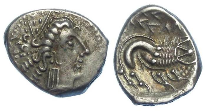 Ancient Coins - Cisalpine Gaul (Northern Italy).  Celto-Liqurian.  Boii-Cenomani. ca. 3rd century BC.  Silver drachm.