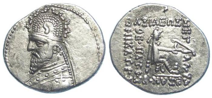 Ancient Coins - Parthia, Gotarzes I, 95 to 90 BC. Silver drachm.