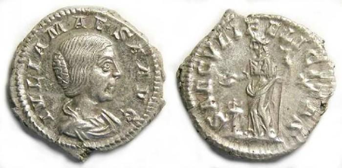 Ancient Coins - Julia Maesa, grandmother of Elagabalus, Silver denarius, S-7757