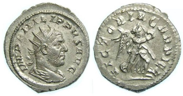 Ancient Coins - Philip I, AD 244-249. Silver Antoninianus.  The rarest reverse on any Philip I antoninianii.
