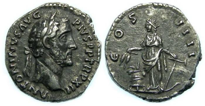 Ancient Coins - Antoninus Pius, Silver denarius, S-4068