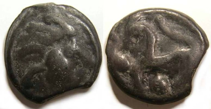 Ancient Coins - Celtic, Gaul. Senones Tribe. ca. 100 to 50 BC.