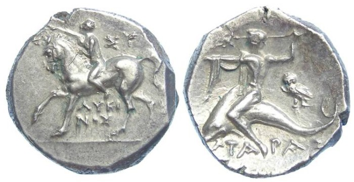 Ancient Coins - Taras. Time of the Roman Alliance, 272 to 235 BC. Silver didrachm.