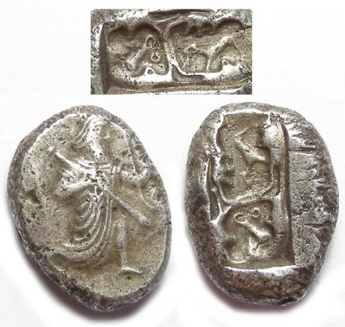 Ancient Coins - Royal Persian Coinage. ca. 420 to 375 BC. Silver Siglos.  ANIMALS IN REVERSE PUNCH.