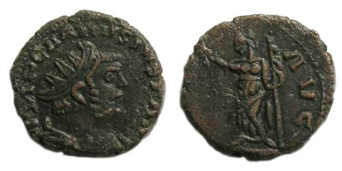 Ancient Coins - Carausius, AD 286 to 293. AE antoninianus.    Possibly struck on an Alexandrian tetradrachm.