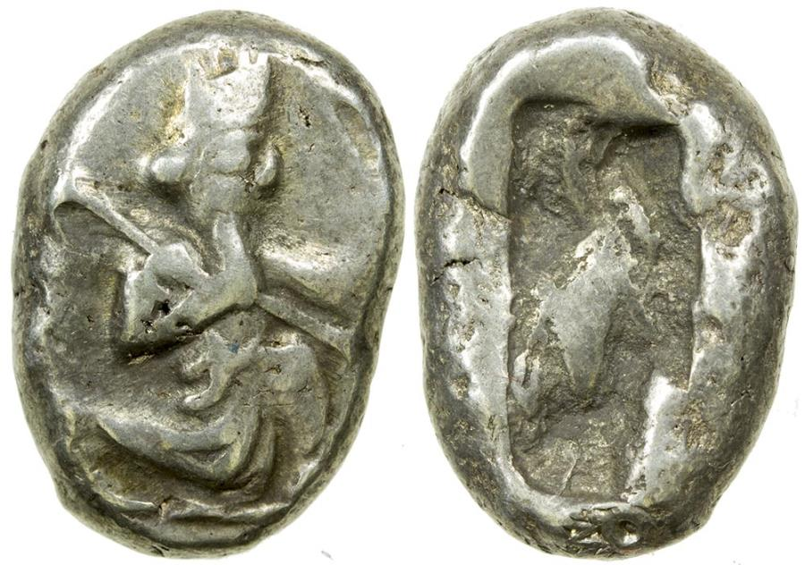Ancient Coins - Achaemenid Empire. Royal Persian Coinage. ca. 485 to 420 BC. Silver siglos.