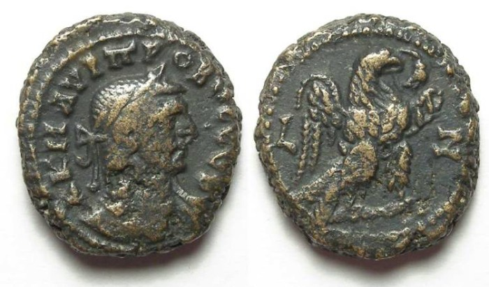 Ancient Coins - Alexandria, Probus, AD 276 to 282, Yr-7 potin tetradrachm. 17.5 mm.