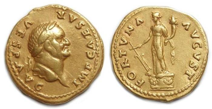Ancient Coins - Vespasian, AD 69-79. Gold Aureus.