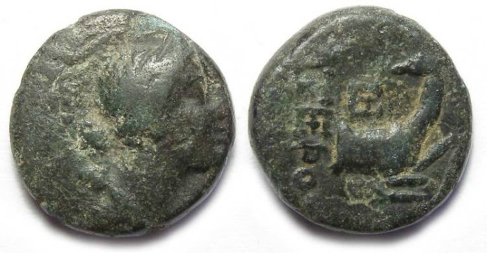 Ancient Coins - Ephesos in ionia.  ca. 256 to 202 BC.  AE 15.