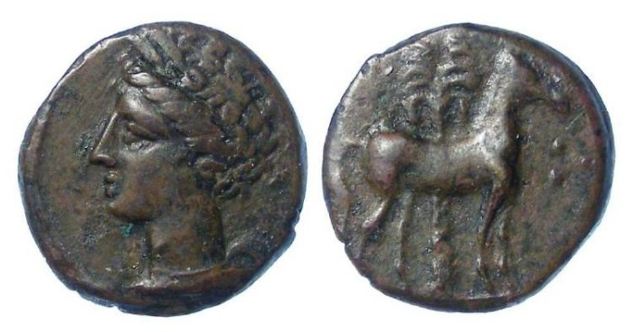 Ancient Coins - Zeugitana, Carthage. Siculo-punic. AE 15. 4th century BC.   Time of the First Punic War.