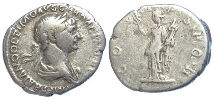Ancient Coins - Trajan, AD 98 to 117. Silver denarius.