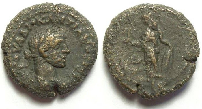 Ancient Coins - Alexandria, Diocletian, AD 284 to 305, Yr-4 potin tetradrachm. 19 mm.