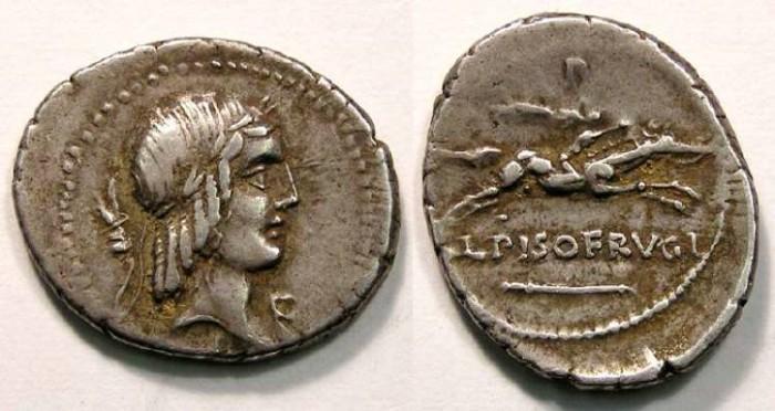 Ancient Coins - Roman Republic. L. Calpurnius Piso L.f. L.n Frugi. ca. 90 BC. With a Grasshopper symbol.