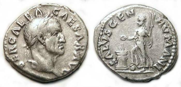 Ancient Coins - Galba, AD 68 to 69. Silver denarius