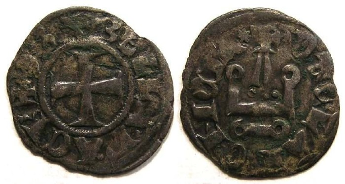 Ancient Coins - Crusaders, Achaea, Isabelle de Villehardouin, AD 1297-1301