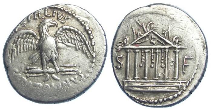 Ancient Coins - Roman Republic. Petillius Capitalinus.  ca 43 BC.  Silver denarius.