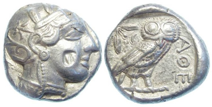 Ancient Coins - Athens, Silver 4 drachm. ca. 449-413 BC.  Possible eastern imitative coin.