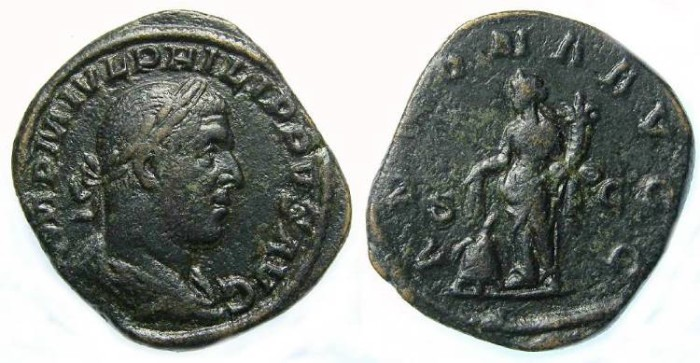 Ancient Coins - Philip I, AD 244-249. Bronze sestertius