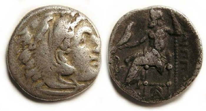 Ancient Coins - Macedonian Kings. Philip III, 323 to 317 BC. Silver Drachm.