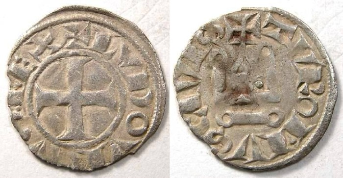 Ancient Coins - France. Louis VIII, AD 1223 to 1226. Silver denier.