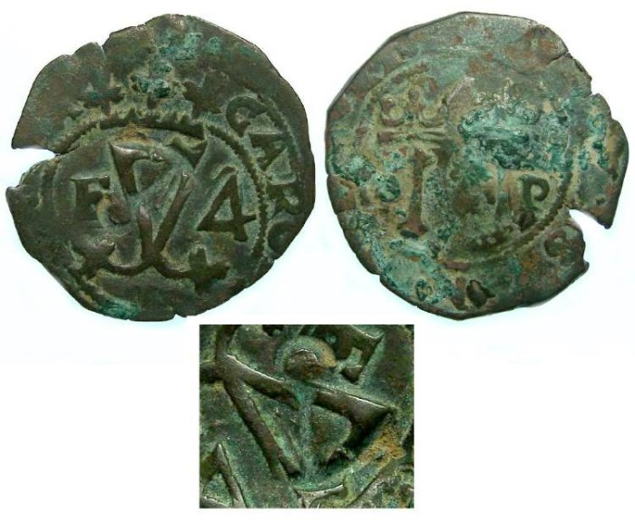 Ancient Coins - Spanish Colonial. Santa Domingo. ca. AD 1540's to 1550's. AE 4 maravedes. First Coin of the Caribbean. Countermarked with a anchor for use in Jamaica.