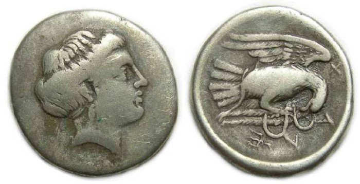 Ancient Coins - Euboia, Chalkis. 340-294 BC. Silver drachm.