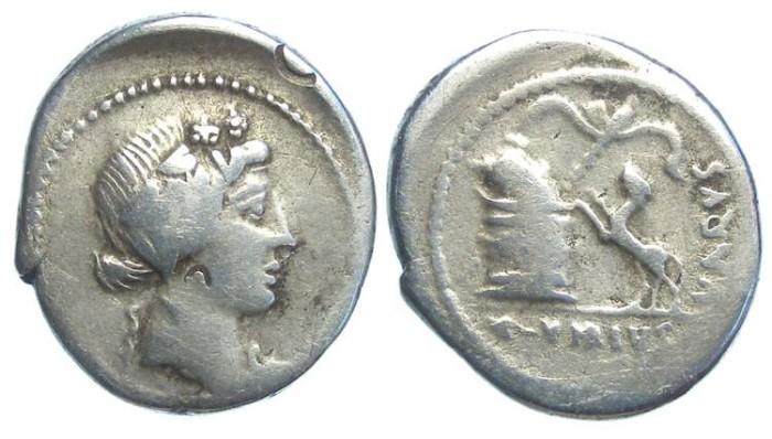 Ancient Coins - Roman Republic.C. Vibius Varus. ca. 42 BC. Silver denarius.
