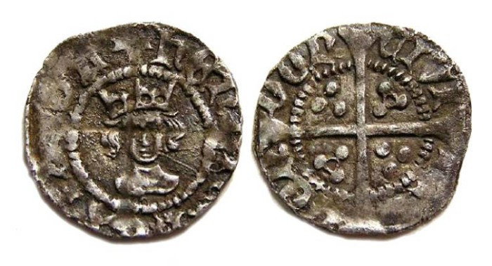 Ancient Coins - English, Henry VI, AD 1422 to 1461. Silver half penny.