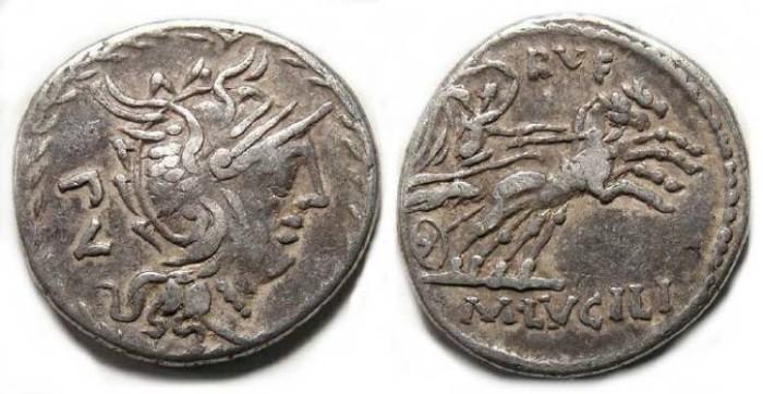 Ancient Coins - M. Lucilius Rufus. ca. 101 BC. Silver denarius