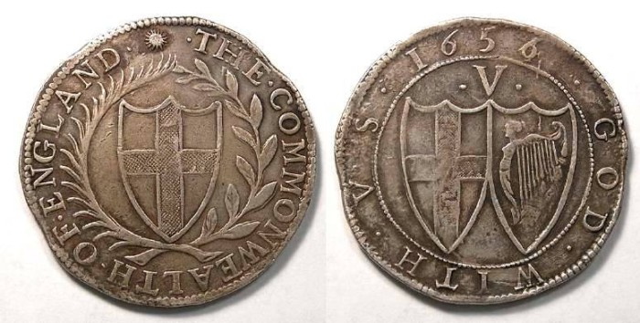 Ancient Coins - English Commmonwealth.  Silver crown.  1656 over 4.