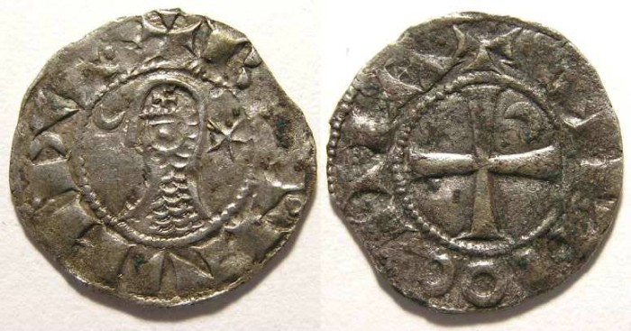 Ancient Coins - Crusaders at Antioch.  Denier in name of Bohemond.