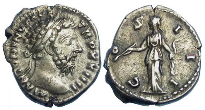 Ancient Coins - Marcus Aurelius, AD 161 to 180, Silver denarius.