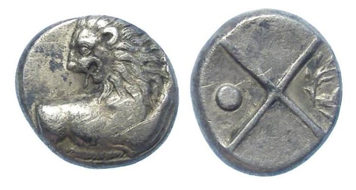 Ancient Coins - Thrace, Chersonesos. 350 to 300 BC. Silver hemidrachm.