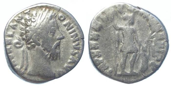 Ancient Coins - Marcus Aurelius , AD 161 to 180, Silver denarius.