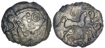 Ancient Coins - Celtic Northern Gaul. Aulerci Eburovices, ca. 50 to 40 BC. Silver Scyphate unit.