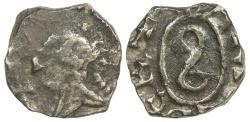 World Coins - Merovingian. Patrician Ansedert. ca. AD 690. Silver denier.