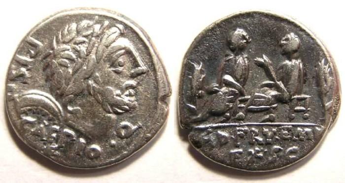Ancient Coins - Roman Republic. L. Calpurnius Piso Caesoninus and Q. Servilius Caepio. ca. 100 BC.