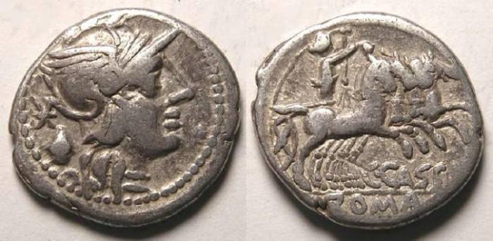 Ancient Coins - C. Cassius. ca. 126 BC. Silver denarius.