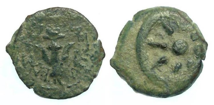 Ancient Coins - Judaea. Alexander Jannaeus, 103 to 76 BC. Bronze prutah.