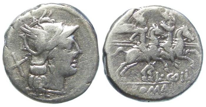 Ancient Coins - Roman Republic. L. Coelius. ca. 189 to 180 BC. Silver denarius.