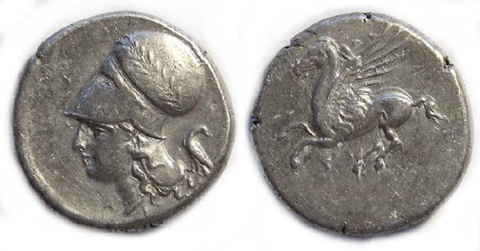 Ancient Coins - Corinth. ca. 345 to 307 BC. Silver stater.