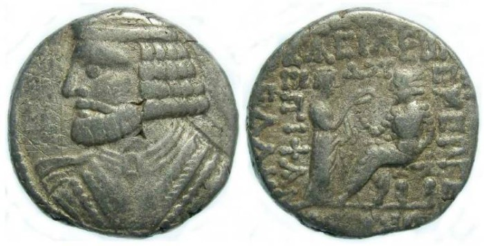 Ancient Coins - Parthia, Vologases I AD 52 to 52, Silver tetradrachm.