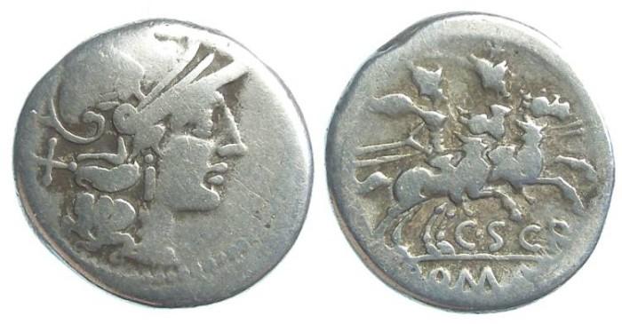 Ancient Coins - Roman Republic. C. Scribonius. ca. 154 BC. Silver denarius.