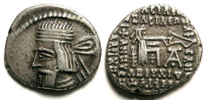 Ancient Coins - Parthia, Artabanos II, AD 10 to 38. Silver drachm.